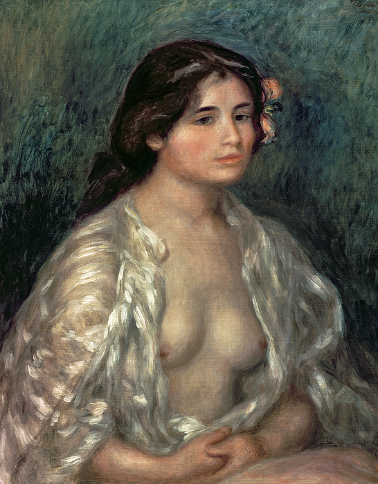 Nude Painting - Woman Semi Nude by Pierre Auguste Renoir