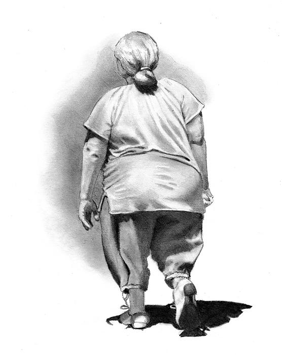 Woman Drawing - Woman Strolling In Sunshine by Joyce Geleynse
