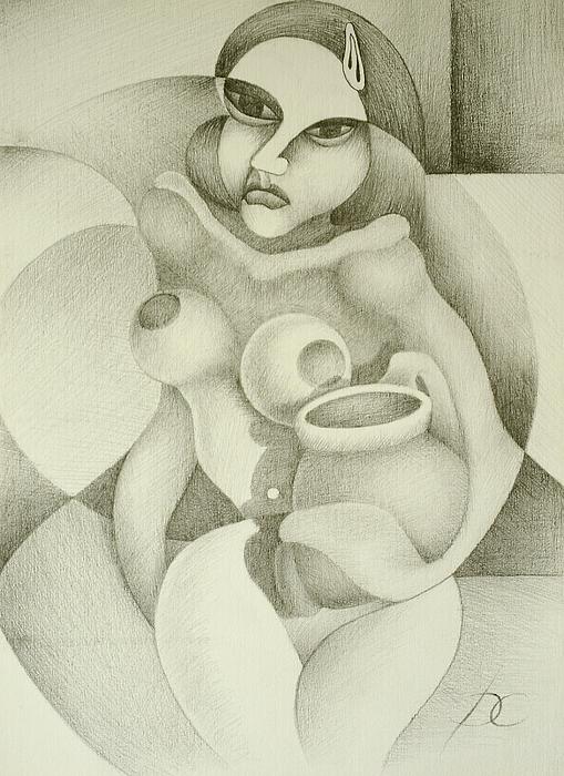 Woman Drawing - Woman With A Pitcher by Dagmara Czarnota