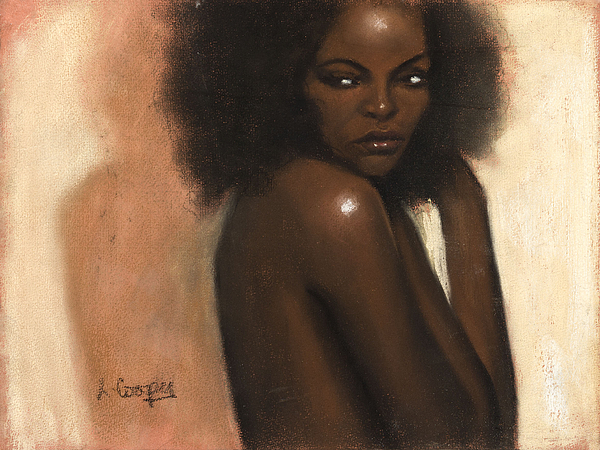 L Cooper Pastel - Woman With Afro by L Cooper