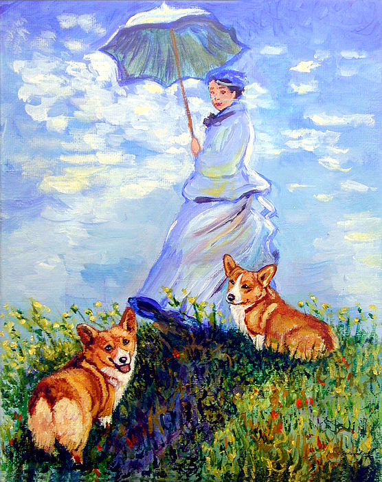 Pembroke Welsh Corgi Painting - Woman With Parasol And Corgis After Monet by Lyn Cook