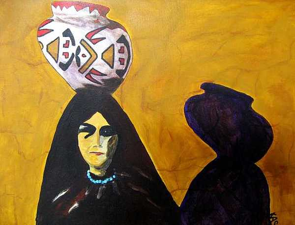Southwest Painting - Woman With Pot by Kitty Schwartz