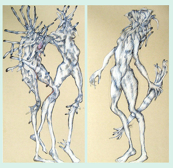Figures Drawing - Woman With Root by Wolfgang - bookwood - Buchholz