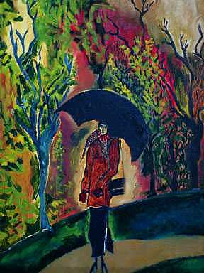 Woman With Umbrella Or Autumn Pillars Painting by Padma Prasad