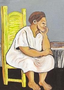 Big Painting - Women And Yellow Chair by Ruth Olivar Millan
