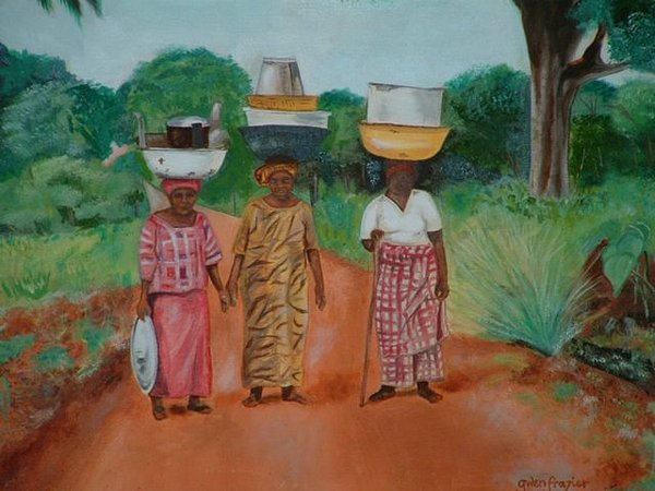 Africa Painting - Women In Central Africa  by Gwendolyn Frazier
