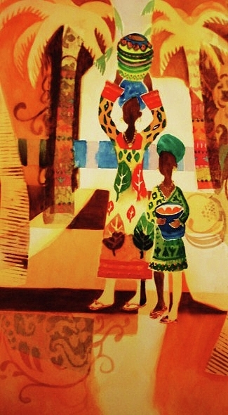 Women Painting - Women With Baskets by Marilyn Jacobson