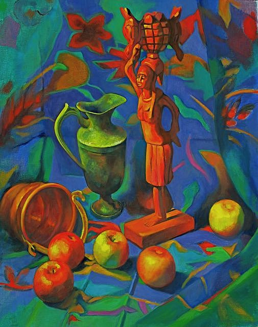 Still Life Painting - Wood Carving With Apples by Evelyn  M  Breit