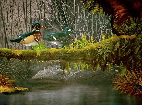 Ducks Painting - Wood Duck Love by Julie McDoniel