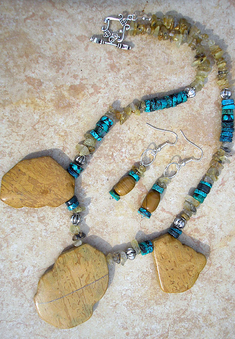 Jewelry Jewelry - Wood Jasper And Turquoise by Angie DElia