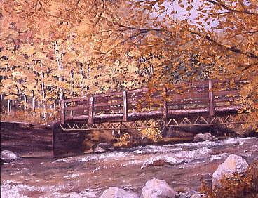 Wooden Bridge Painting by Biki Chaplain
