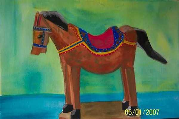 Wooden Painting - Wooden Horse by Lori Tan