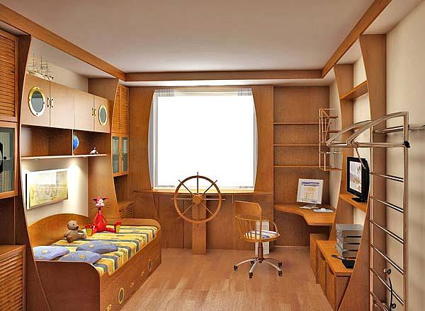 Baby Bedroom Drawing - Wooden Marine Baby Bedroom Interior by Walid Fahmy
