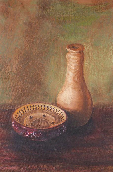 Still Life Painting - Wooden Vase by Srilata Ranganathan