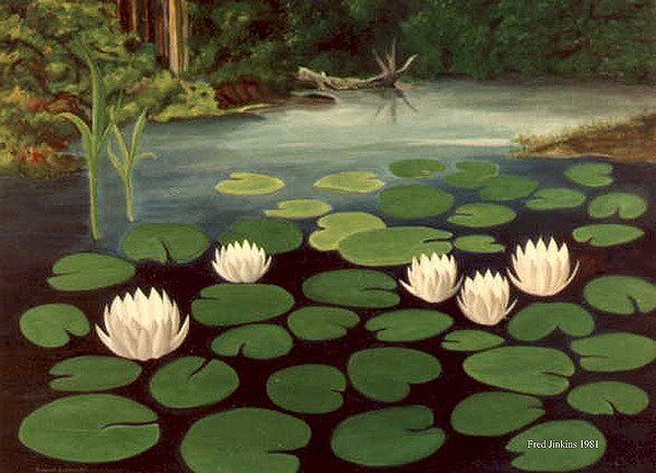 Water Lilies Painting - Woodland Hidden Pond by Fred Jinkins