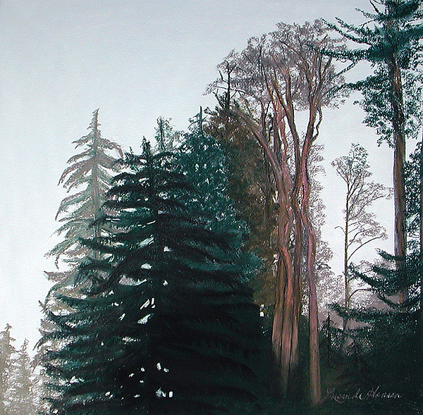 Forest Painting - Woods Mist by Lucinda  Hansen