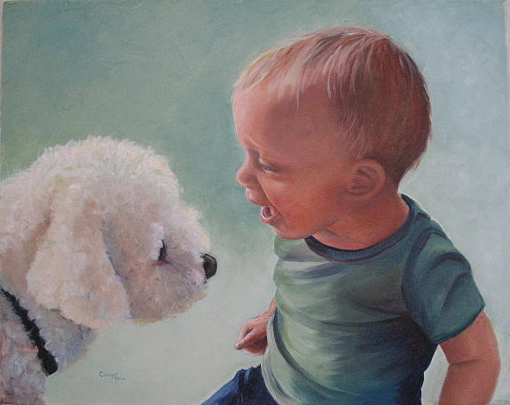 Oil On Canvas Painting - Woof by Cindy Hall