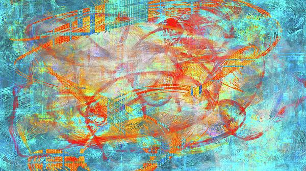 Digital Digital Art - Work 00099 Abstraction In Cyan, Blue, Orange, Red by Alex Hall