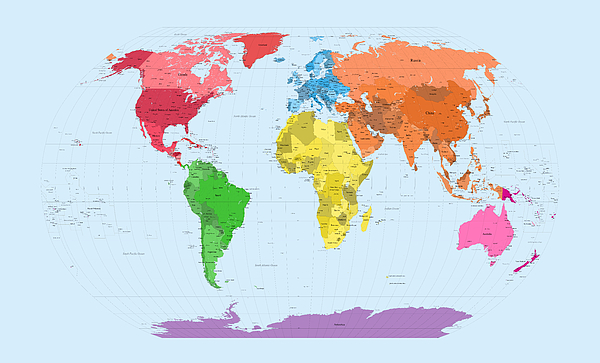 Map Of The World Digital Art - World Map Continents by Michael Tompsett