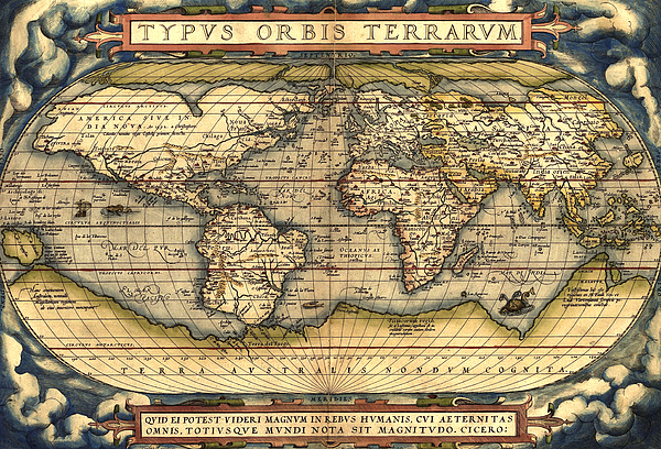 Map Of The World Paintings Painting - World Map From The Theatrum Orbis Terrarum 1570 by Pg Reproductions