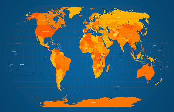 Map Of The World Digital Art - World Map In Orange And Blue by Michael Tompsett