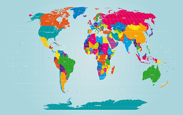 World map digital art by michael tompsett map of the world digital art world map by michael tompsett gumiabroncs Gallery