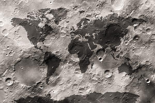 World Map Digital Art - World Map On The Moons Surface by Michael Tompsett