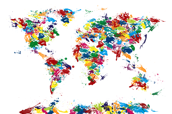 Map Of The World Digital Art - World Map Paint Drops by Michael Tompsett