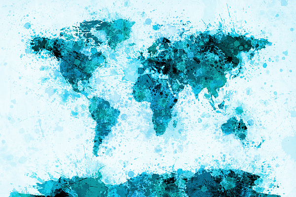 World map paint splashes blue digital art by michael tompsett map of the world digital art world map paint splashes blue by michael tompsett gumiabroncs Gallery
