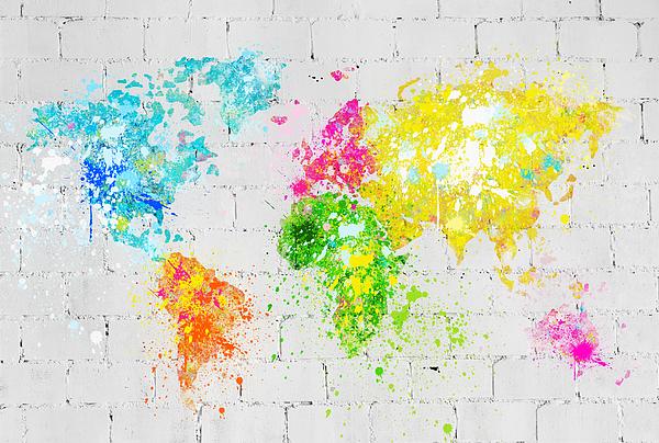 Adventure Painting - World Map Painting On Brick Wall by Setsiri Silapasuwanchai