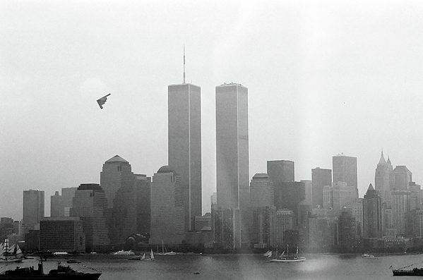 New Photograph - World Trade Center And Opsail 2000 July 4th Photo 18 B2 Stealth Bomber by Sean Gautreaux