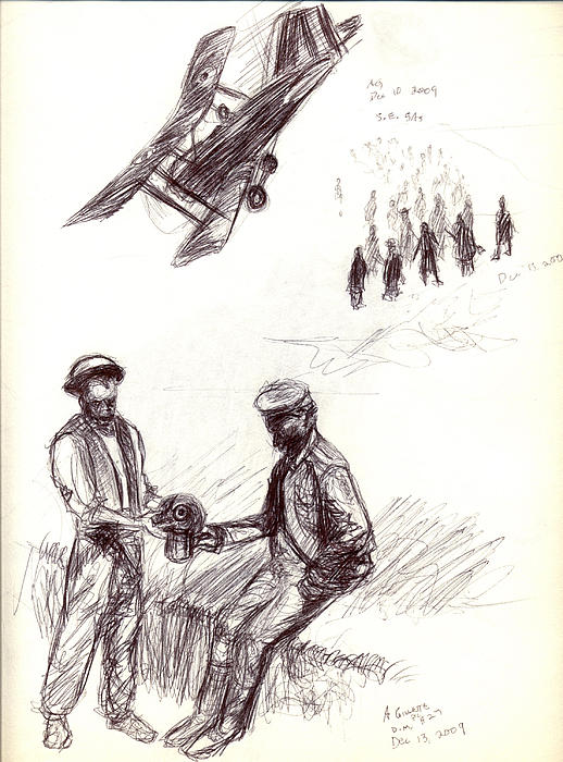 Military Drawing - World War One Sketch No. 2 by Andrew Gillette