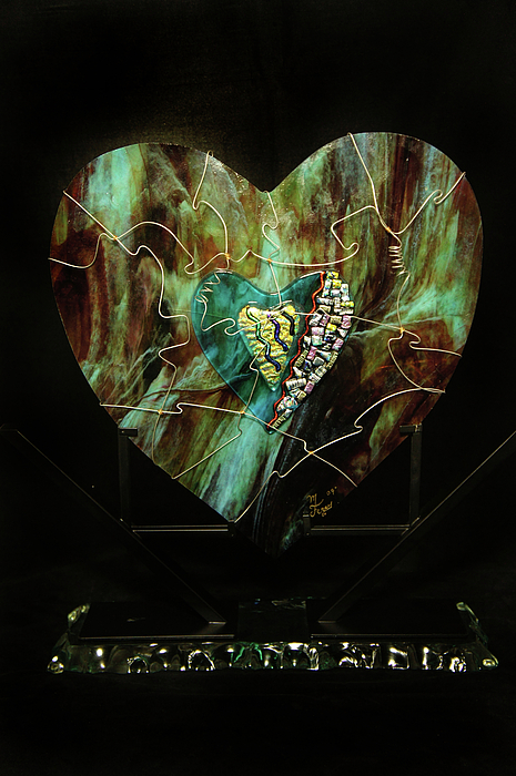 Glass Heart Glass Art - Wraped With Love by Michelle Ferry