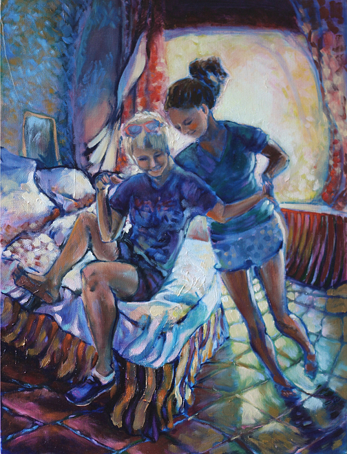 Sisters Painting - Wrassling by Violet Taylor