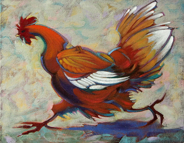 Chicken Painting - Write When You Get Work by Roberta Smith