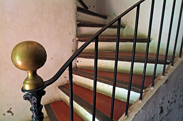 Aged Photograph - Wrought Iron Handrail Of An Old Staircase by Sami Sarkis