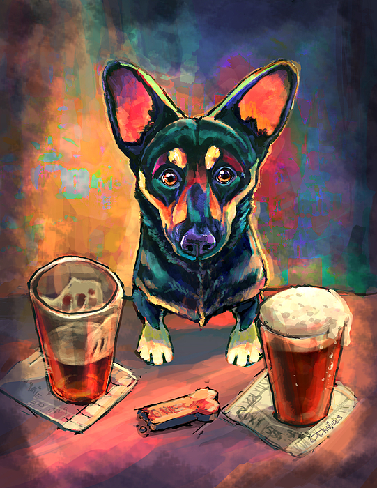Dog Painting - Yappy Hour by Sean ODaniels