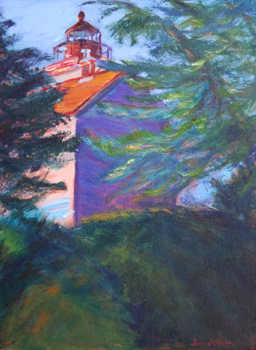 Quin Sweetman Painting - Yaquina Bay Lighthouse  by Quin Sweetman