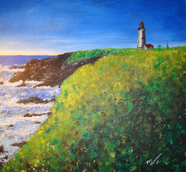 Lighthouse Painting - Yaquina Head Light by Phil Cashdollar