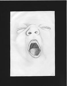 Children Drawing - Yawning Baby by Tanya Davis