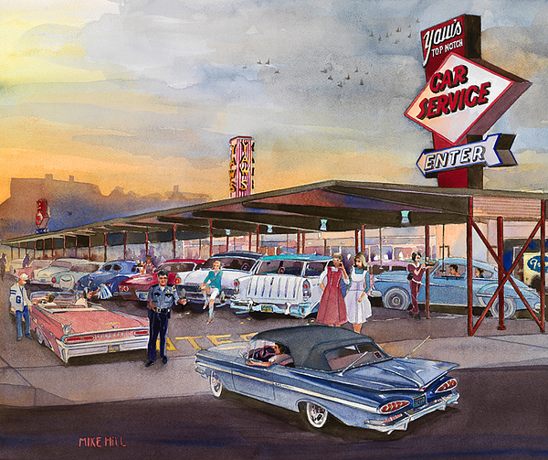 Yaw's Drive-in Restaurant Tootsie Roll Cop Bob Svilar Car Hops Chevy Pontiac Oldsmobile Nomad Ford Grant High School Portland Oregon French Fries Gravy Green River Top Notch Burger Policeman Robert Football Basketball Sports Rock And Roll Painting - Yaws Top Notch Drive In by Mike Hill