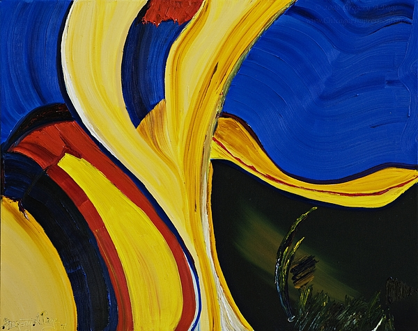 Abstract Oil Painting Painting - Yellow Abstract by Gregory Allen Page