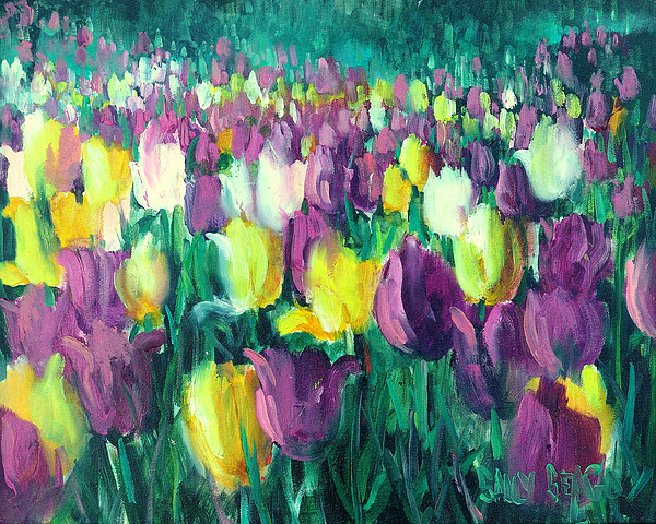 Flowers Painting - Yellow And Violet Tulips by Sally Seago