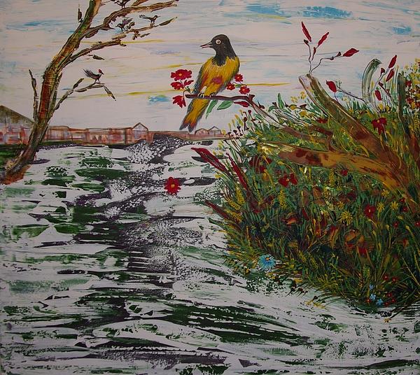 Bird Painting - Yellow Bird by Sima Amid Wewetzer