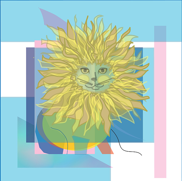 Cat Digital Art - Yellow Cat by Susan Nelson