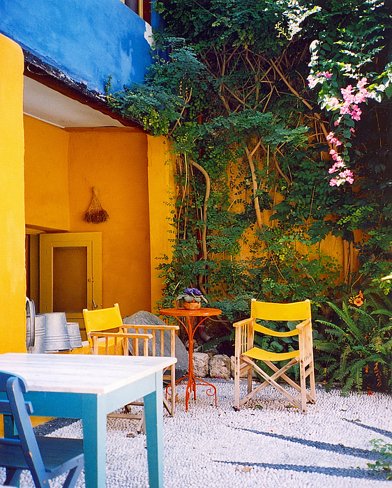 Rhodes Photograph - Yellow Chairs by Andrea Simon