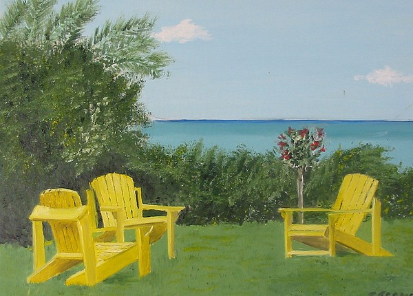 Seascape Painting - Yellow Chairs At Blue Mountain Beach by John Terry