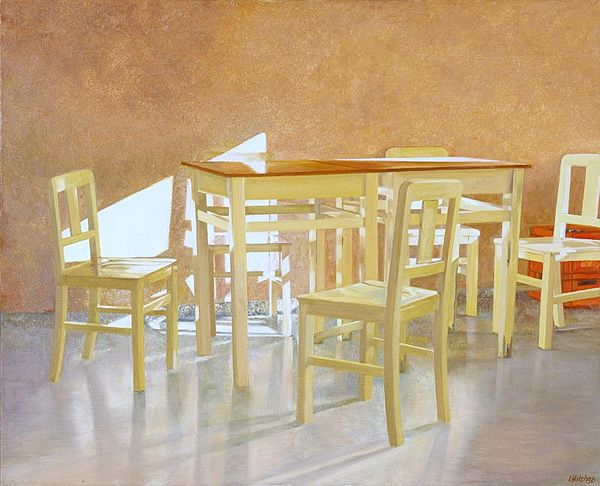yellow chairs in Barretos Painting by Leone Holzhaus