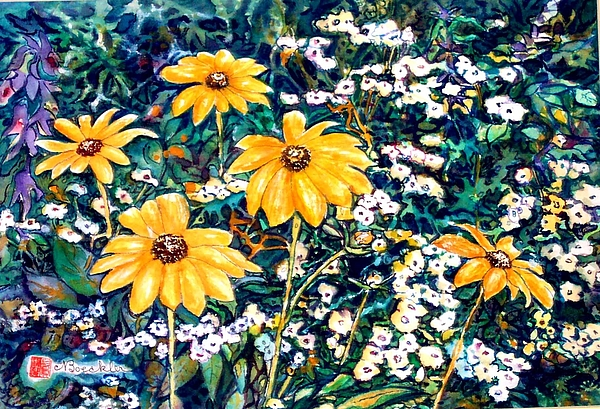 Daisies Painting - Yellow Daisies by Norma Boeckler