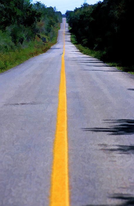 Absence Photograph - Yellow Dividing Line Marking An Empty Road Between Uxmal And Kabah by Sami Sarkis